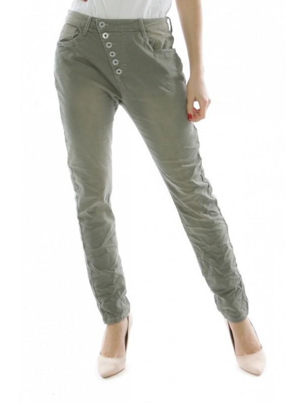 jeans med snedknäppning -khaki 1ce3923cf8449