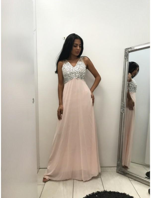 långklänning med paljetter made in itali-rosa