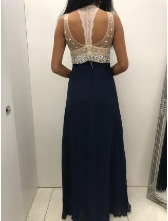 långklänning made in itali-mörkblå